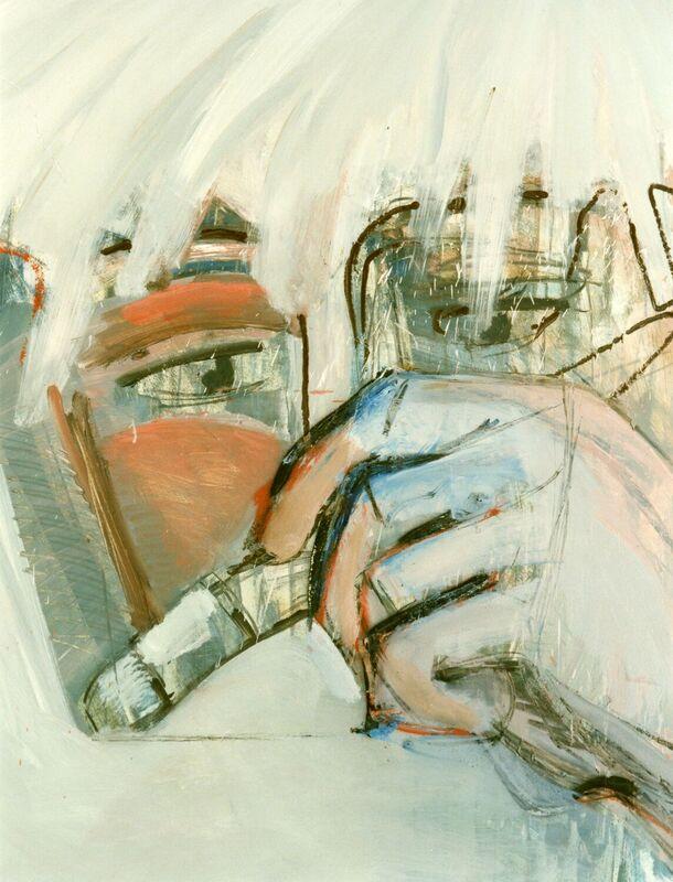 <strong>1a. Zelfportret met penseel II, 1988, olieverf, grafiet en houtskool op papier, 85x65 cm <div class=verkocht>VERKOCHT</div></strong>