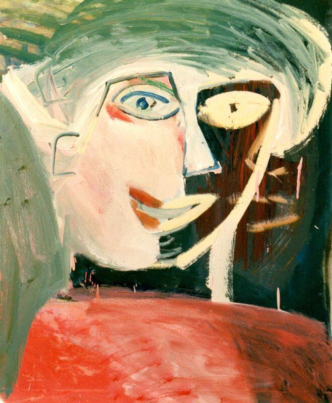 <strong>4b. Portret met rode trui, 1991, olieverf op papier, 85x65 cm <div class=verkocht>VERKOCHT</div></strong>