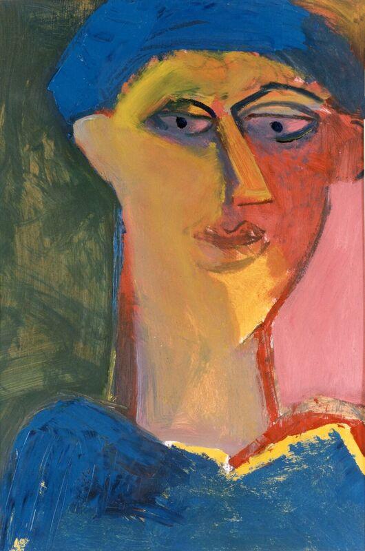 <strong>5e. 034E Portret met blauwe hoed, 1991, olieverf op papier, 90x65 cm <div class=verkocht>VERKOCHT</div></strong>