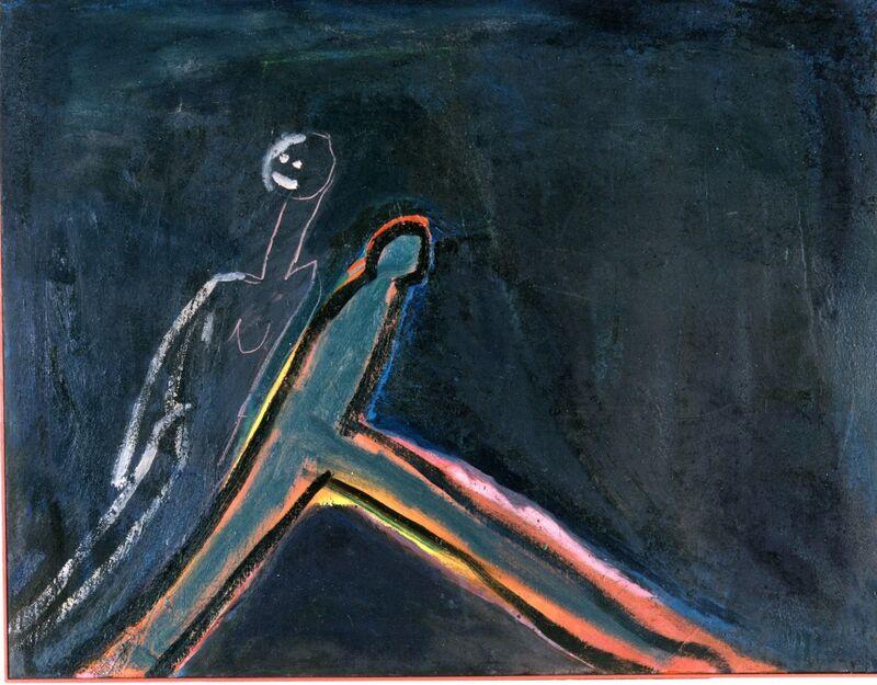 <strong>7b. Honderdeen (Stress)1991, olieverf en cement op linnen, 85x110 cm</strong>